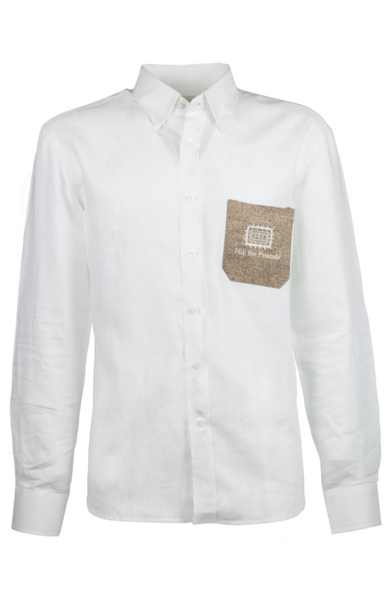 camicia diamante tasca juta sabbia con logo (senza bottoni)
